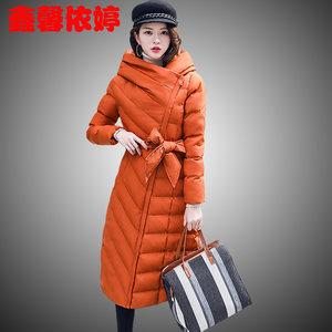 冬装新款羽绒棉服女中长款收腰显瘦时尚连帽棉衣外套韩版潮流棉袄
