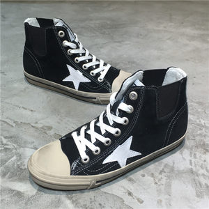 做旧星星休闲平底<span class=H>女鞋</span>2019新款韩版真皮低跟板鞋吸汗单鞋高帮鞋潮