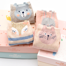 Kids of socks in pure cotton stockings in autumn and winter Korean College Wind and Japan Cartoon Tide Caramella Gift Box 4 pairs