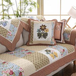 全棉<span class=H>沙发垫</span>四季通用纯棉布艺防滑沙发坐垫冬田园客厅皮<span class=H>沙发巾</span>套罩