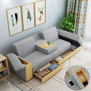 网红款小户型客厅抽屉储物收纳多功能三人变床的日式贵妃布艺沙发