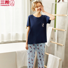 Three-gun pyjamas for women in summer household wear Shufu cotton round collar short sleeve pants for ladies'air-conditioning suit 81550