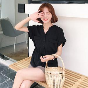 棉麻上衣女宽松娃娃衫衬衣韩版夏季心机设计感亚麻棉大码短袖衬衫