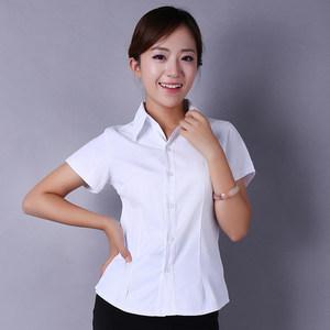 白衬衫女短袖职业装正装工作服银行白领收腰V领<span class=H>衬衣</span>半袖斜纹棉ol