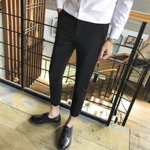 Summer casual trousers, men's Korean version of body-building suit pants, slim trousers, men's nine-minute trousers, spring sagging pants