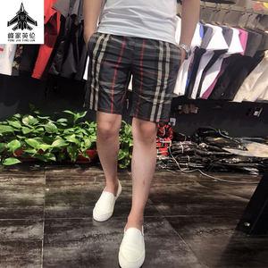 2019夏韩版修身男装大码五分裤时尚格子个性印花男士休闲潮流短裤