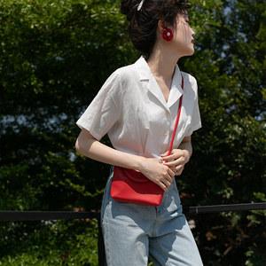 MIXDEMIND觅定 白色衬衫女设计感小众法式束腰短款上衣收腰短袖夏