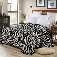 Zebra-striped blanket, coral blanket, single double flannel sheet, air-conditioned blanket for children napping in summer