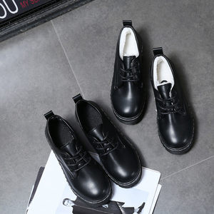 肯德基工作鞋女士黑色皮鞋平底上班鞋女鞋舒适
