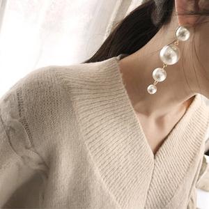 韩国复古大小珍珠<span class=H>耳环</span>女气质夸张大珠子长款流苏时尚大气耳钉耳坠