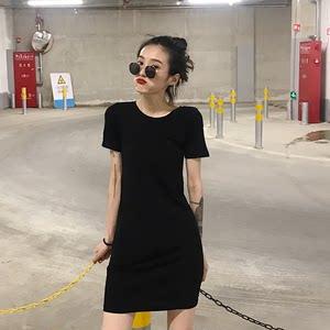 2019夏款女连衣裙韩国纯色显瘦包臀裙圆领修身超弹力短袖中<span class=H>长裙</span>女