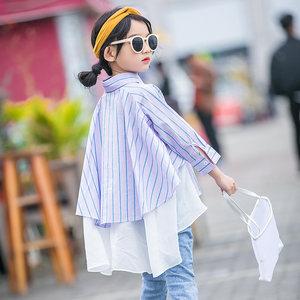 女童<span class=H>衬衫</span>2019春秋新款韩版潮衣儿童洋气条纹衬衣不规则中长款春装