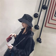 New black cotton and linen foldable fisherman's hat female Japanese 100-set sunshade hat Korean Chao wide eaves hat summer