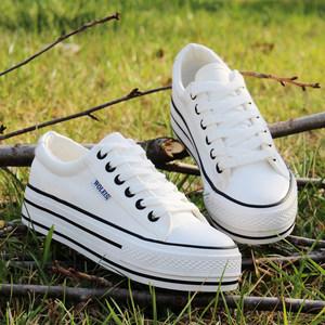 春夏韩版低帮白色帆布鞋女学生厚底松糕鞋魔术贴单鞋平跟休闲板鞋
