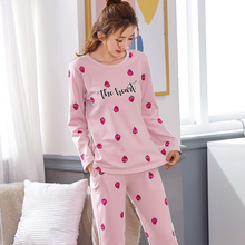 Loose Korean Sleepwear Women's Spring and Autumn Long Sleeve Trousers Sweet and Lovely Cotton Housewear Women's Winter Two-piece Suit