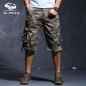季言个性双重口袋迷彩短裤男 七分裤 宽松<span class=H>中裤</span>男运动马裤休闲潮流