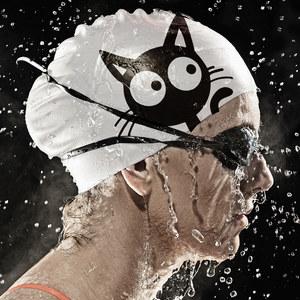 飞鱼游<span class=H>泳帽</span><span class=H>泳帽</span>硅胶女防水大号可爱时尚猫长发护耳成人男儿童女童