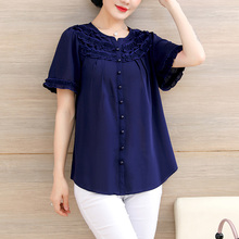 Chiffon jacket, short sleeved mother's summer dress, loose personality shirt, large size, middle-aged 40-year-old 50-year-old dress, foreign style small shirt