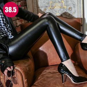 <span class=H>皮裤</span>女2018新款高腰秋冬季打底裤外穿加绒加厚紧身PU皮黑色小脚裤