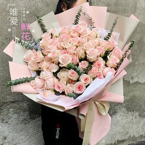绣球粉雪山玫瑰花花束生日沈阳鲜花速递同城石家庄太原花店送花