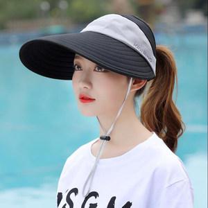 <span class=H>遮阳帽</span>空顶女夏季大沿户外运动防晒太阳帽骑行沙滩旅游可折叠帽子