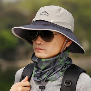 帽子男防晒帽户外登山太阳帽遮脸男士钓鱼帽渔夫帽防紫外线遮阳帽