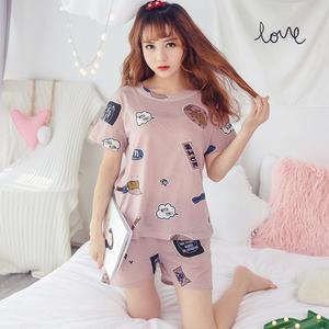 睡衣女士夏季短袖大码卡通可爱韩版家居服可外穿甜美薄款套装
