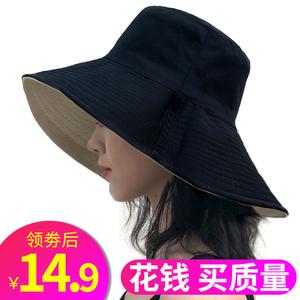 chic爆款双面可戴可折叠大檐渔夫帽