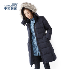Winter super-long cap down jacket warming and thickening long waist down jacket 6506