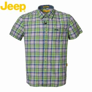 <span class=H>JEEP</span>/吉普专柜正品男式休闲衬衣 全棉格子短袖商务<span class=H>衬衫</span>JS15WH150