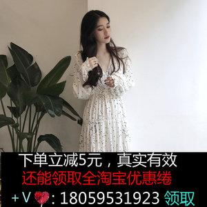 秋季2018新款韩版宽松显瘦长袖连衣裙女装复古V领波点休闲长裙子
