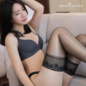 新款欧美性感蕾丝花边硅胶防滑油亮长筒袜 丝袜诱惑美腿黑丝情趣