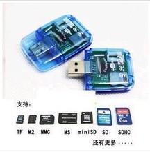 Digital 3C / computer accessories / USB2.023 with 1 large transparent card reader large transparent card reader wholesale