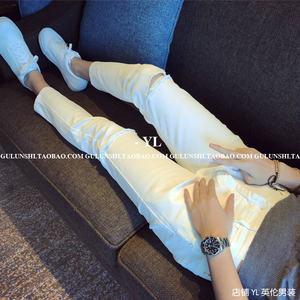 韩国男装<span class=H>裤子</span>日系夏季休闲小脚裤男英伦东大门白色九分裤薄款潮男