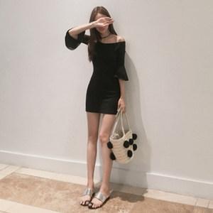 春季新款露肩打底裙紧身时尚一字领包臀裙修身显瘦荷叶袖<span class=H>连衣裙</span>女
