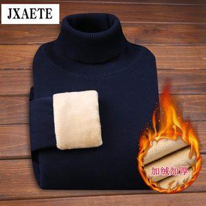 冬季男士<span class=H>毛衣</span>加绒加厚韩版潮流高领毛衫修身纯色保暖线衣男装上衣