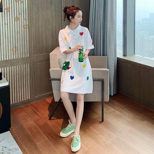 夏季韩版女装古着感少女港味刺绣上衣网红短袖中长款宽松显瘦T恤