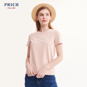PRICH<span class=H>女裝</span>2019年夏季新款韓版純色圓領T恤簡約風上衣PRLW96403N