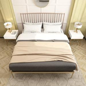 北欧简约现代风格创意家居斯黛拉金色单双人床<span class=H>铁床</span>公主床金属
