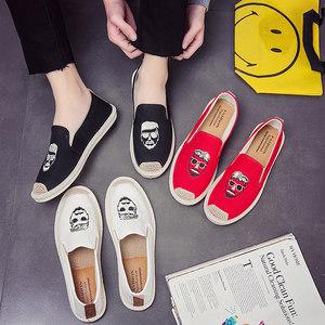 夏季帆布鞋<span class=H>男鞋</span>潮男士休闲鞋中国风亚麻草编一脚蹬渔夫懒人鞋布鞋