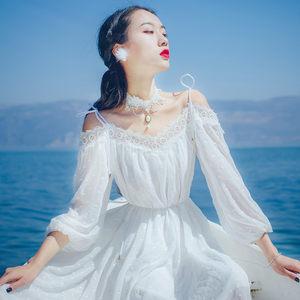 夏季一字领仙女长裙露肩吊带雪纺连衣裙女波西米亚海边度假沙滩裙