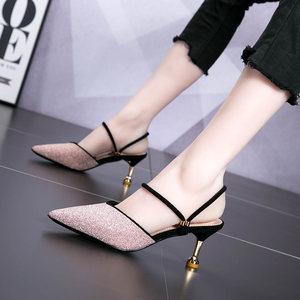 猫跟高跟鞋<span class=H>凉鞋</span>女夏细跟5cm百搭小清新少女公主粉色亮片拖鞋两穿