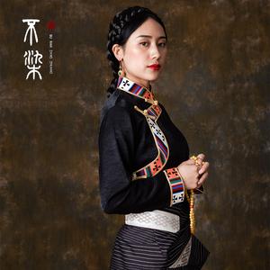 =不染= 西藏藏风衬衣藏装女 上衣藏袍藏族衣服女民族风新款<span class=H>服装</span>