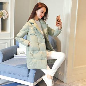 矮个子<span class=H>棉衣</span>女中长款2017新款韩版修身显瘦加厚保暖羽绒棉冬季外套