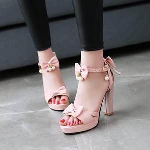 小清新韩版<span class=H>凉鞋</span>女夏 露趾粗跟高跟鞋 蝴蝶结一字扣超高跟公主女鞋