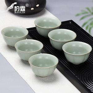 汝窑哥窑功夫小<span class=H>茶杯</span><span class=H>陶瓷</span>茶盏茶碗家用单个品茗杯紫砂主人杯青花瓷
