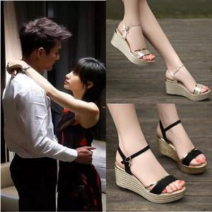 特价<span class=H>凉鞋</span>女夏季坡跟2019新款韩版真皮高跟厚底松糕跟百搭大码女鞋