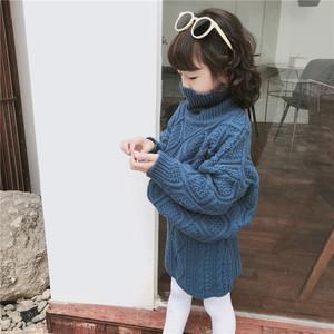 TOTObaby童装童装18冬季新款儿童<span class=H>针织衫</span>女童洋气麻花套头高领<span class=H>毛衣</span>