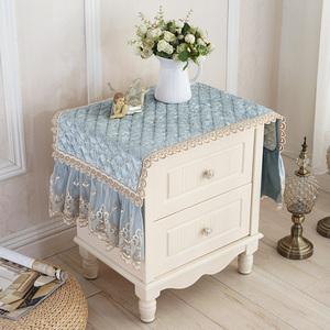 欧式床头柜盖布罩防尘布<span class=H>盖巾</span>布艺简约现代小方巾蕾丝冰箱遮尘桌布