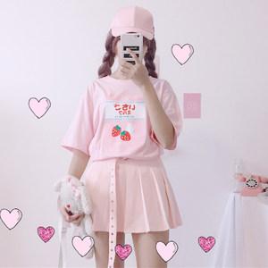 夏季女装日系学生闺蜜装小清新<span class=H>T恤</span>上衣<span class=H>草莓</span>印花百搭少女短袖上衣